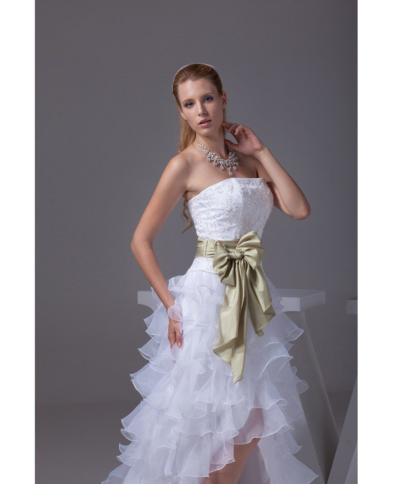 Asymmetrical Wedding Gown: Strapless White High Low Wedding Dresses Ruffles A Line