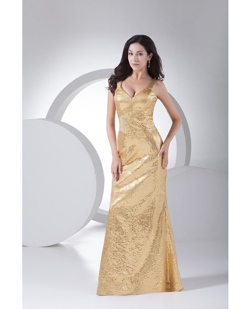 Sparkly Gold Sheath Floor Length Formal Party Dress With