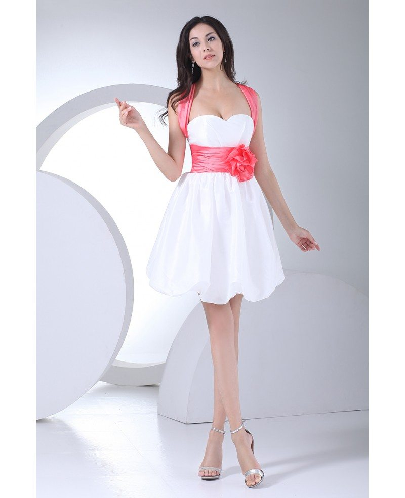 Cute pink and white short party dress with sash cross back for Cute short white wedding dresses