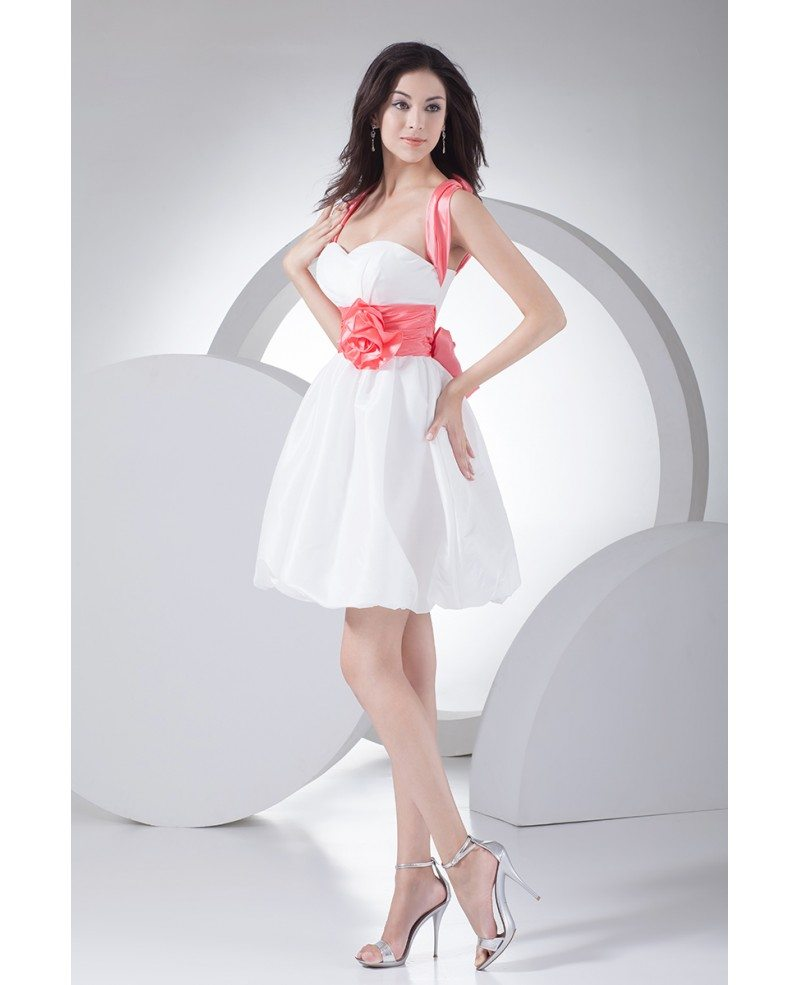Cute Pink and White Short Party Dress with Sash Cross Back ...