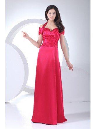Fuschia Halter Long Pleated Satin Bridesmaid Dress