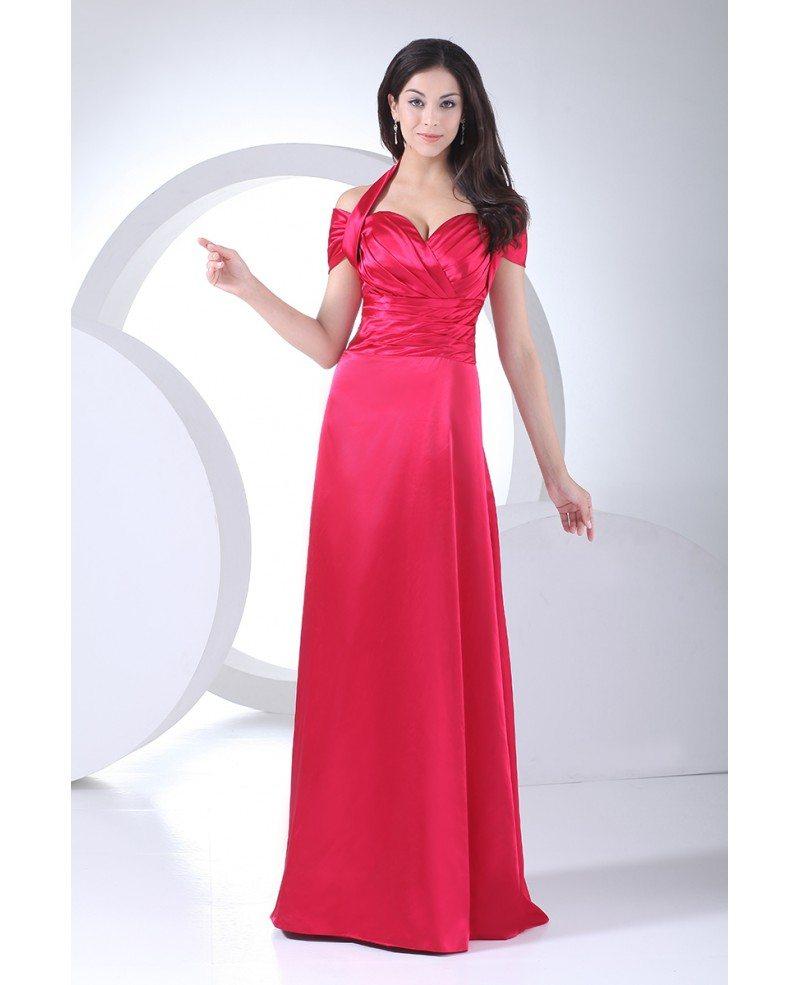Fuschia Halter Long Pleated Satin Bridesmaid Dress #OP4078 $139 ...