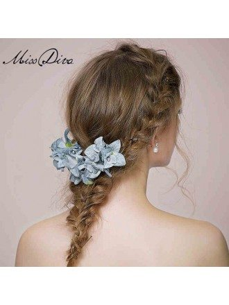 Blue Floral Hairpins Style