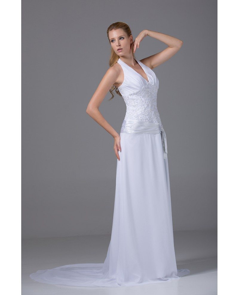 Lace Halter Wedding Gown: Long Halter Sequined Lace Chiffon Wedding Dress With Sash