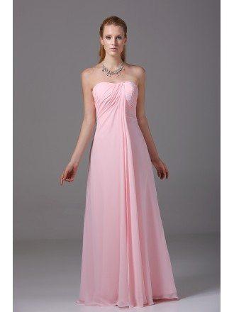 Custom Strapless Long Pink Chiffon Bridesmaid Dress