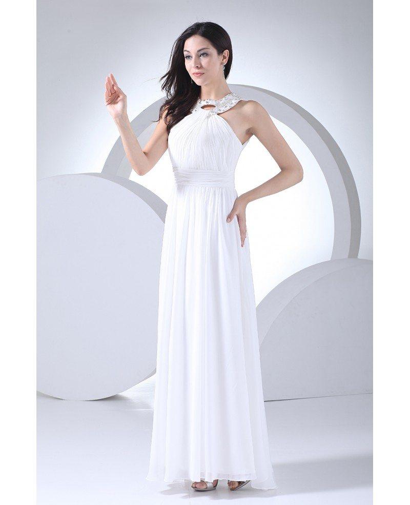 Custom Long White Chiffon Beaded Halter Bridal Dress #OP4109 $160 ...