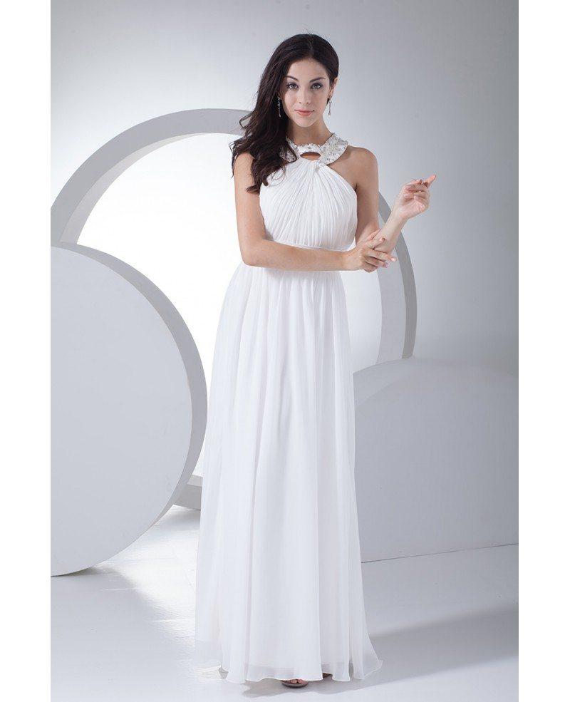 Custom long white chiffon beaded halter bridal dress for White chiffon wedding dress