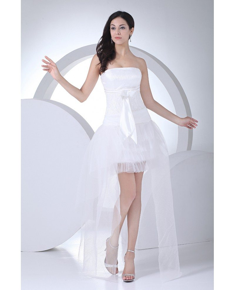 Strapless high low wedding dresses tulle cute style with for Tulle high low wedding dress