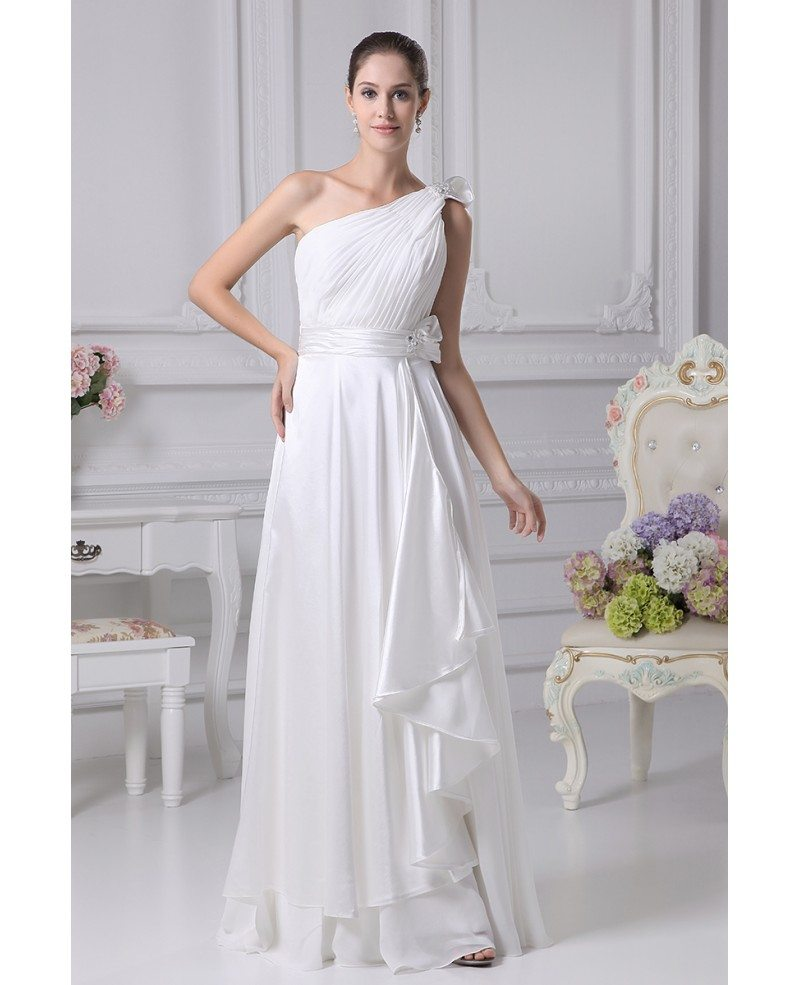 Gorgeous One Shoulder Pleated Chiffon Wedding Dress With