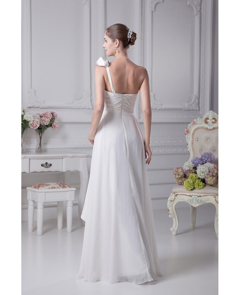 Gorgeous one shoulder pleated chiffon wedding dress with for One shoulder wedding dress