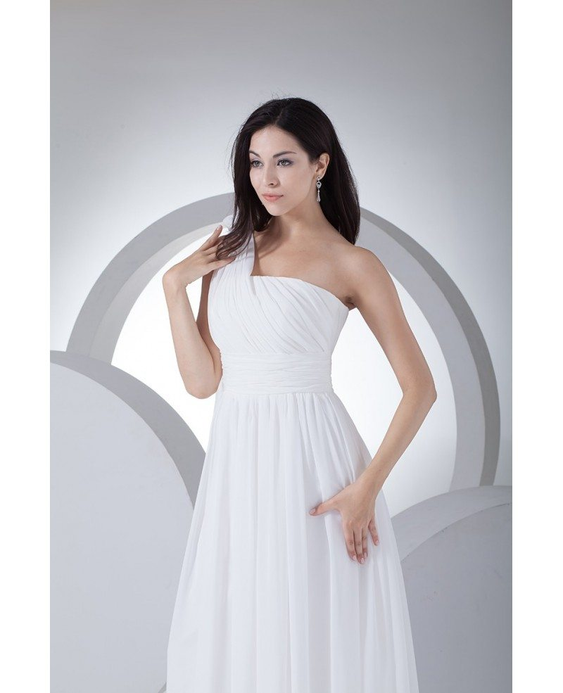 One Strap Wedding Gowns: Chic One Strap Chiffon Floor Length Wedding Dress #OP4114