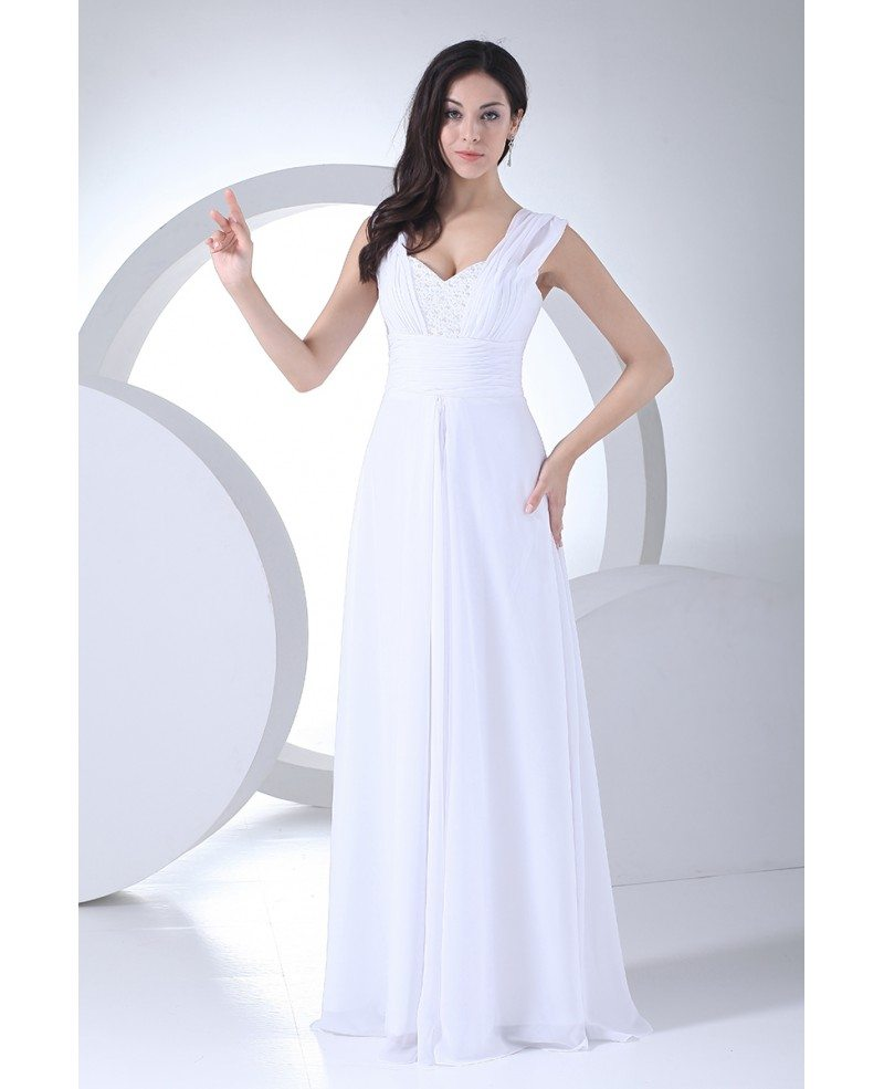 Beaded sweetheart floor length long chiffon wedding dress for Chiffon sweetheart wedding dress