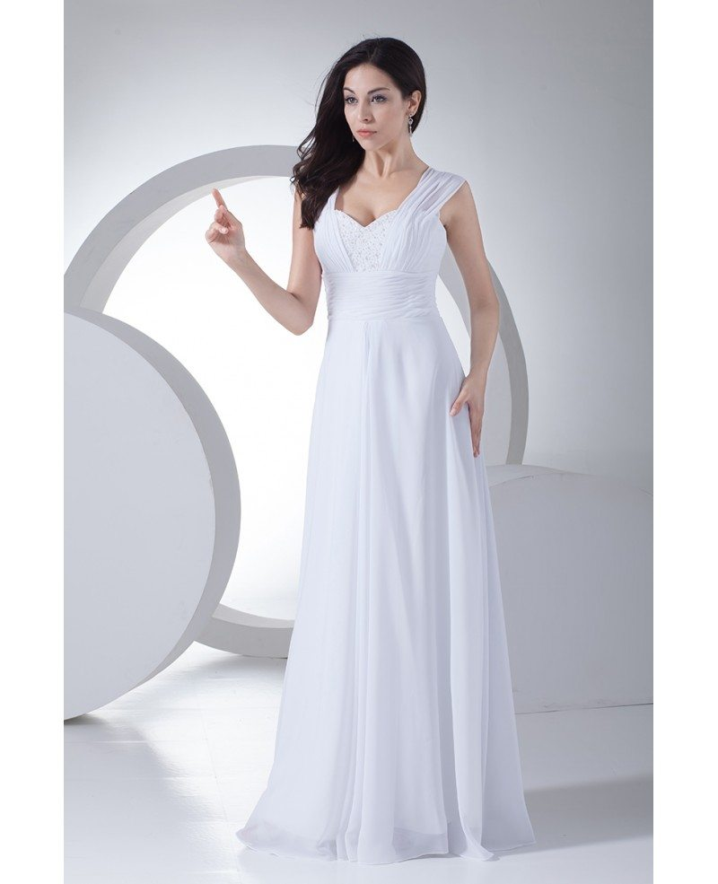 Beaded sweetheart floor length long chiffon wedding dress for Sweetheart wedding dress with straps