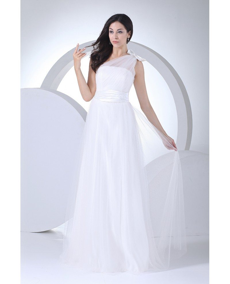 Beautiful Soft Tulle One Shoulder With Bow Floor Length