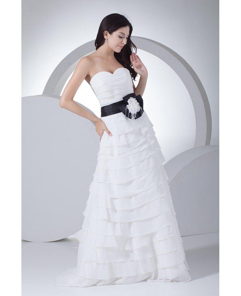 Wedding Gown Chiffon: White With Blue Sweetheart Cascading Ruffles Chiffon