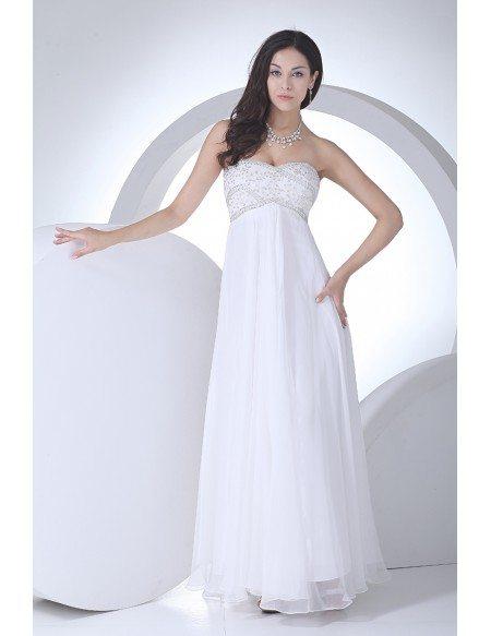 Lovely Beaded Top Long Chiffon Empire Waist Maternity Wedding Dress ...