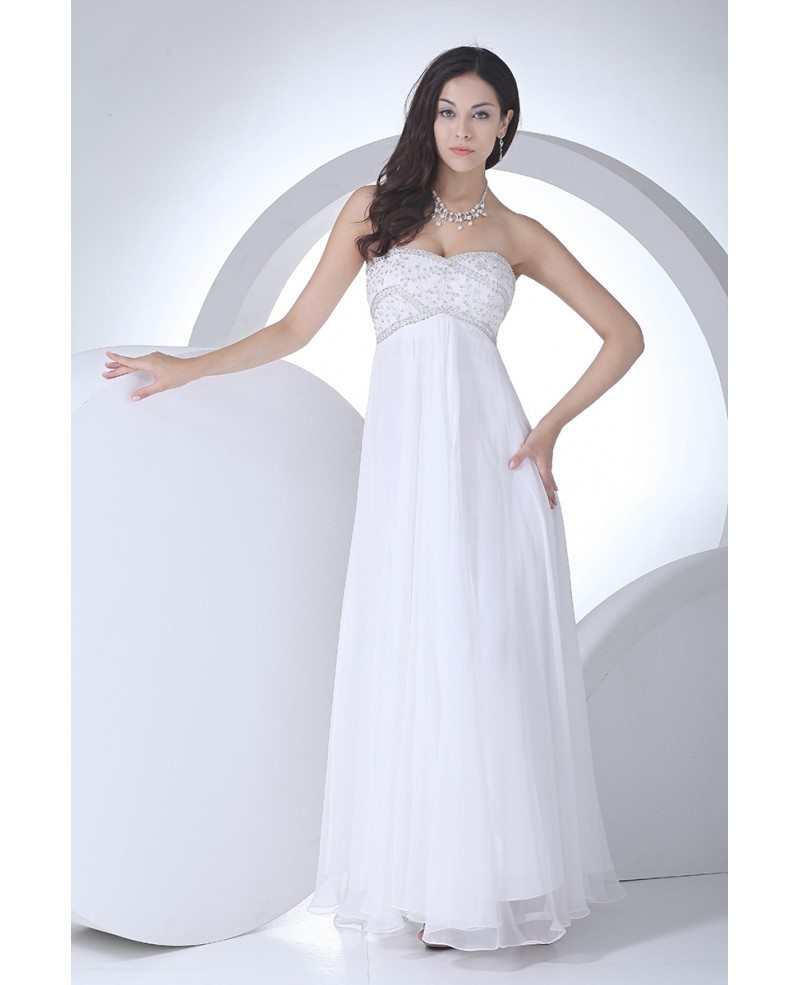 Lovely Beaded Top Long Chiffon Empire Waist Maternity Wedding Dress ...