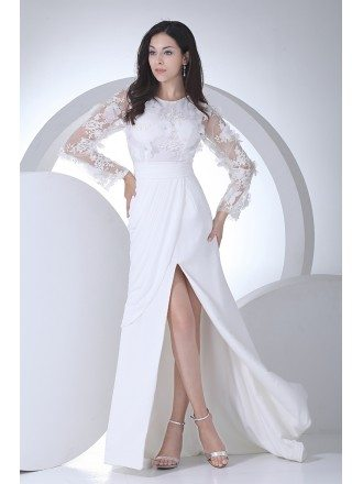 Charming Long Floral Sleeves Wedding Dress Split Front
