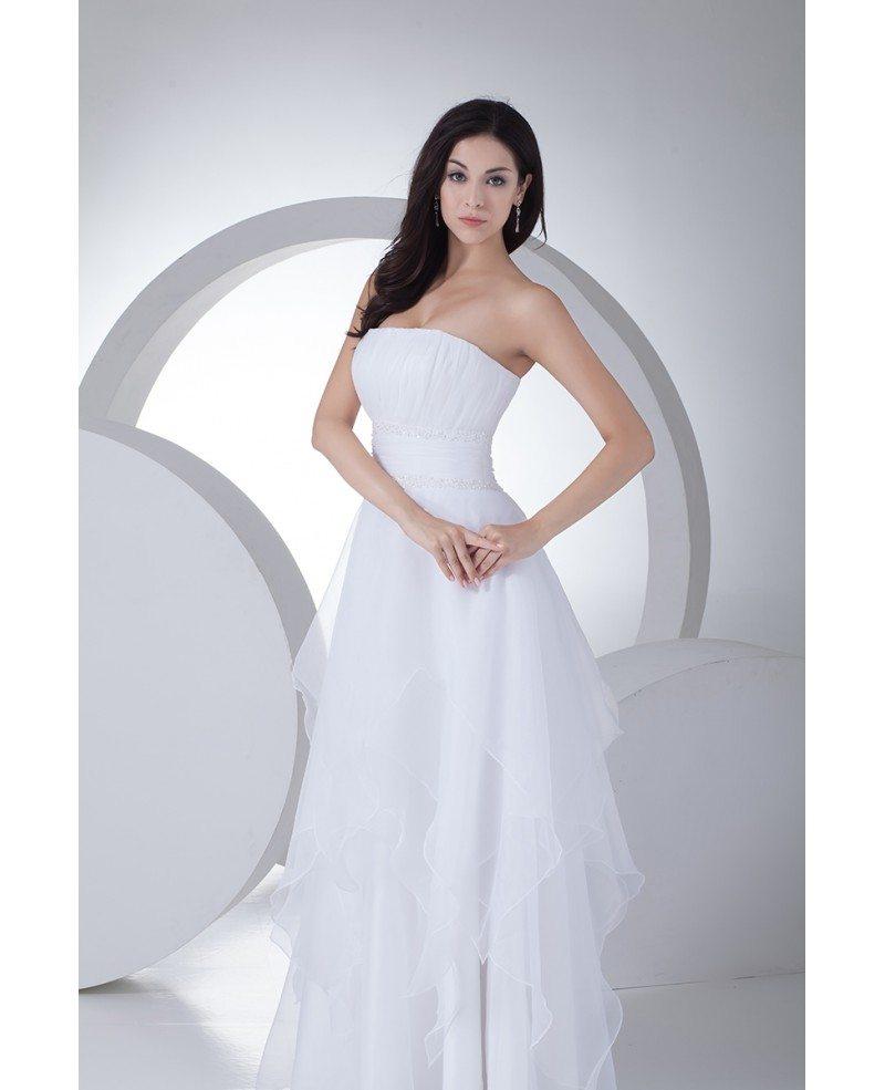 Elegant Strapless Floor Length Organza Wedding Dress