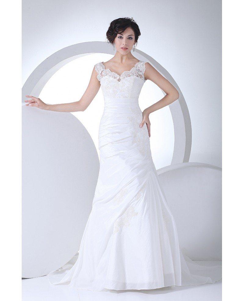 Lace straps pleated taffeta mermaid wedding dress in white for Mermaid wedding dress with straps
