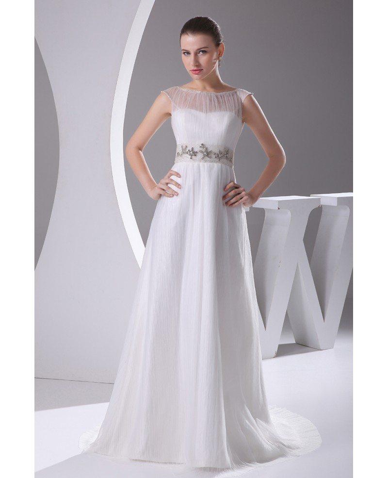 Elegant White Cap Sleeves Beaded Waist Long Formal Dress