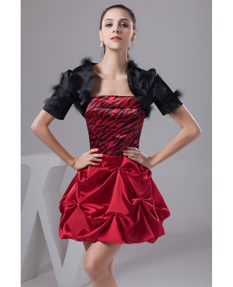 A-line Strapless Short Satin Prom Dress #OP41054 $120.8 ... - photo#24