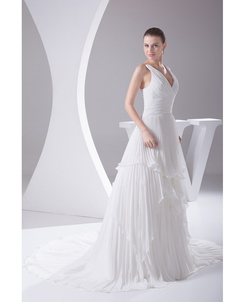 Beautiful pleated v neck cascading ruffle wedding dress for Cascading ruffles wedding dress