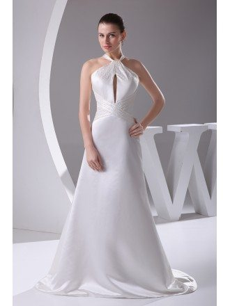 Custom Long Halter Beaded A-line Wedding Dress in Satin