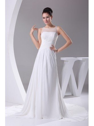 Simple Beaded Top Long Pleated Chiffon Wedding Dress Custom