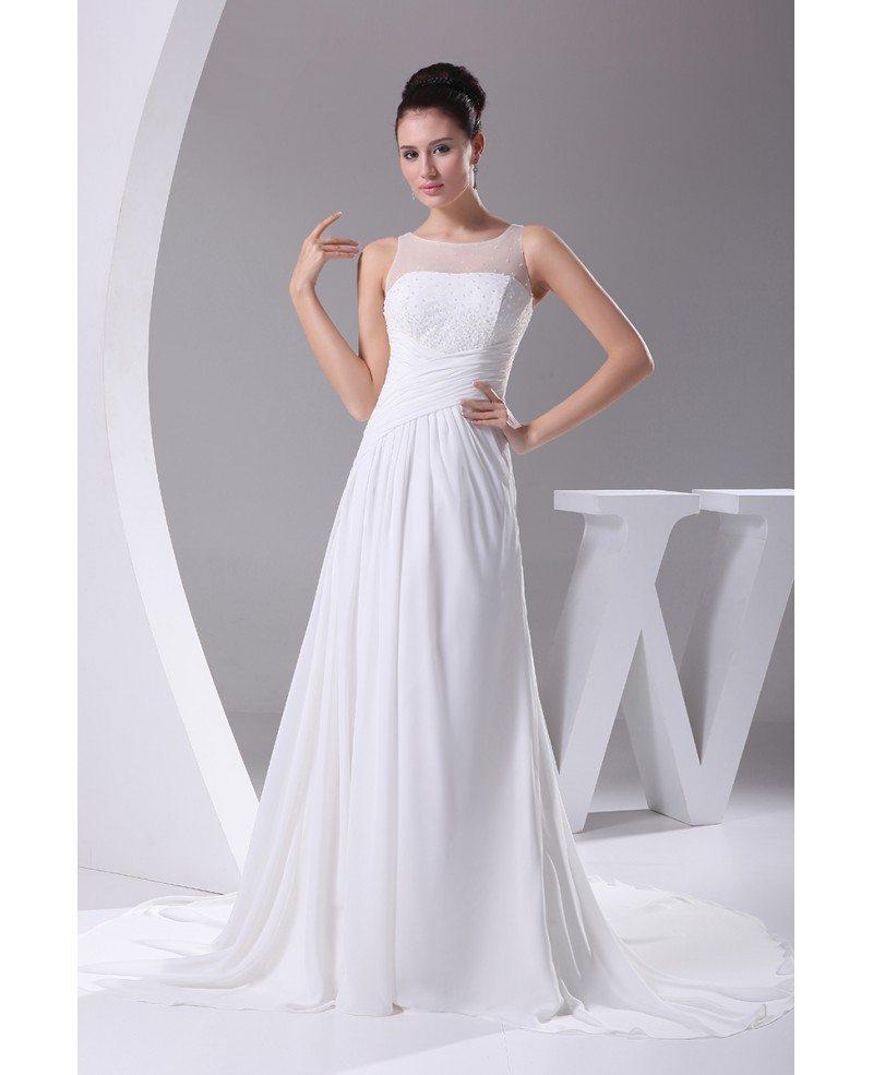 Wedding Gown Chiffon: Simple Beaded Top Long Pleated Chiffon Wedding Dress