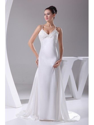 Slim Bodice V-neck Sequined Straps Silky Satin Formal Dress