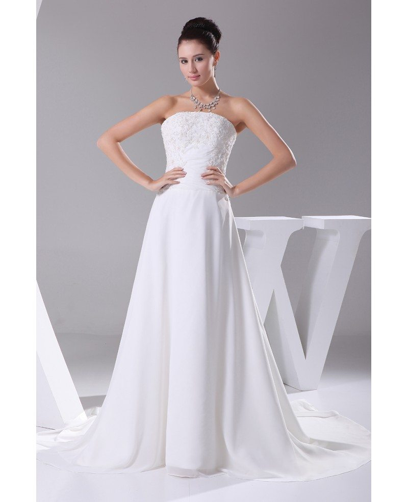 A-line Long Chiffon Beaded Lace Wedding Dress With Train