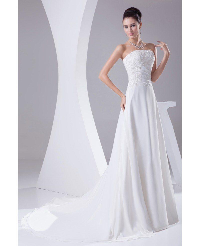A line long chiffon beaded lace wedding dress with train for A line chiffon wedding dresses