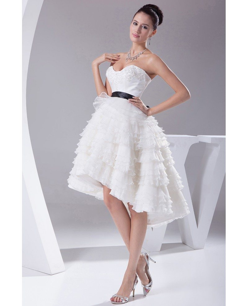 Reception short wedding dresses high low cute sweetheart for Short sweetheart wedding dress