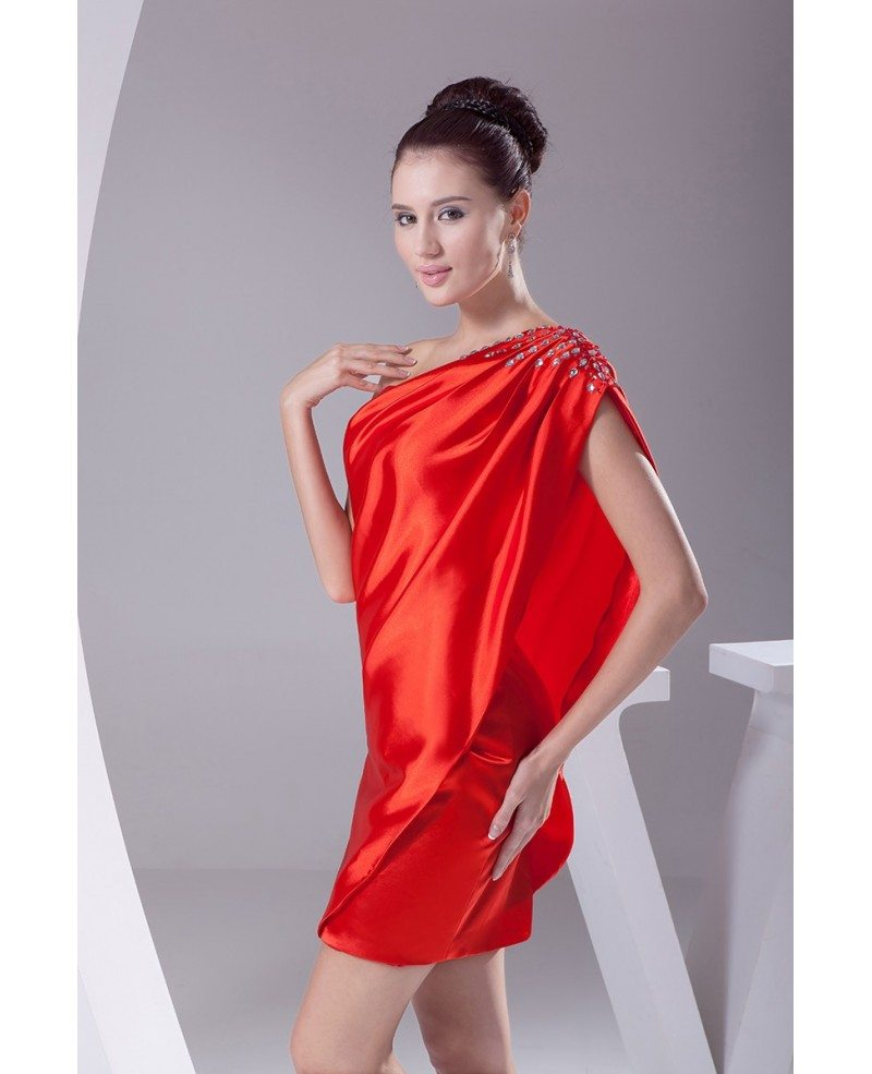 Little Red Classy Mini Short Party Dress with One Shoulder Beaded ...