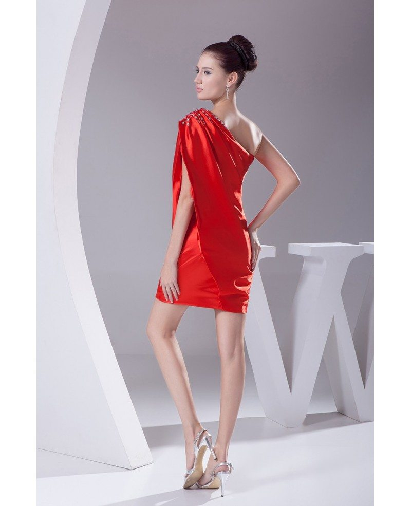 Little Red Classy Mini Short Party Dress With One Shoulder