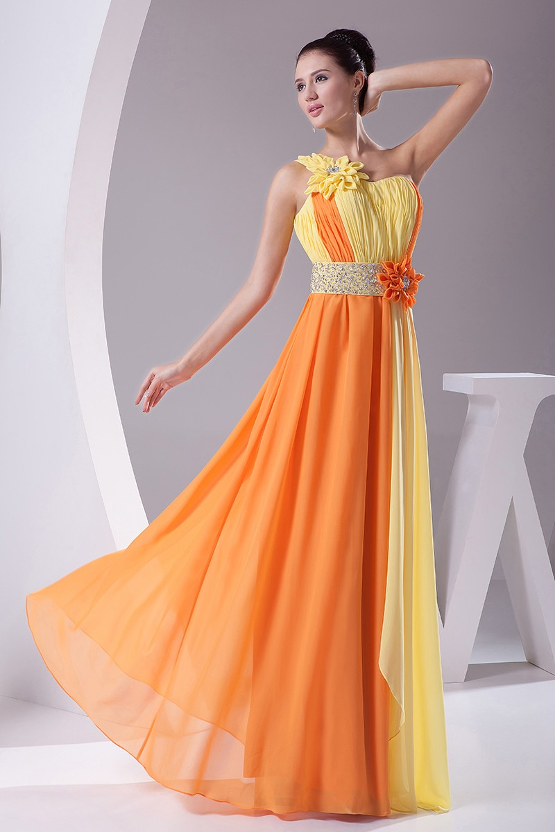 Colorful Yellow And Orange Floral One Shoulder Floor
