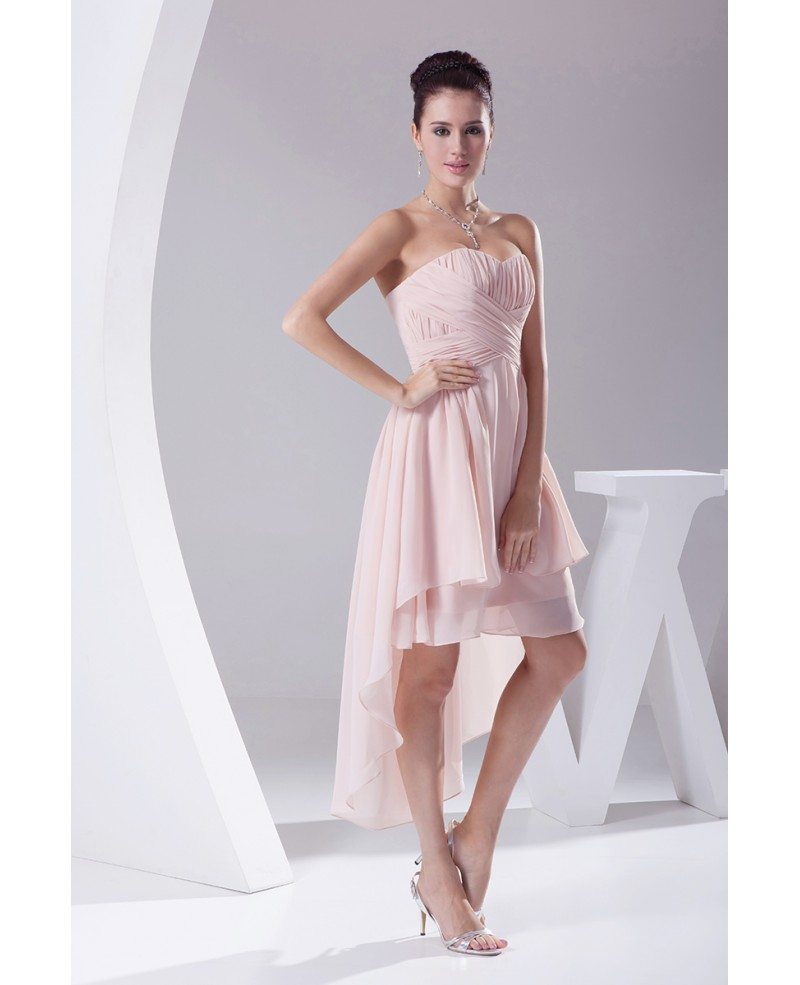 Sweetheart high low ruffled chiffon bridesmaid dress for High low sweetheart wedding dress