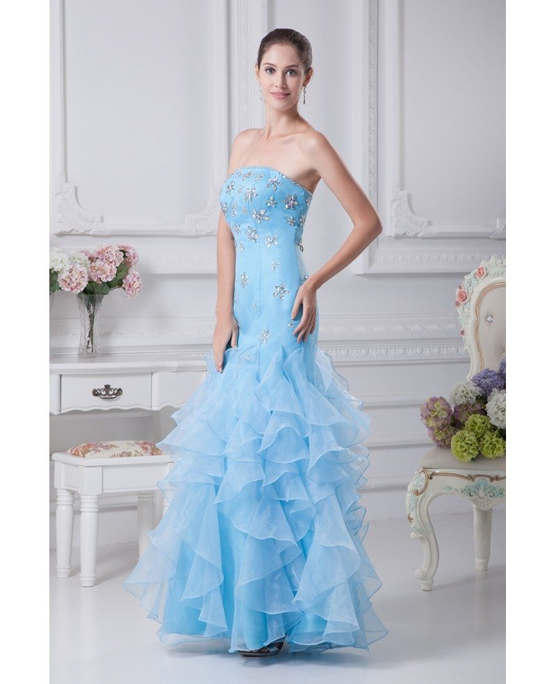 cute beaded blue sheath prom dress with ruffles op4161