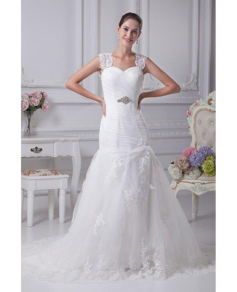 Beautiful Mermaid Wedding Gowns: Beautiful Lace Straps Sheath Mermaid Tulle Train Length