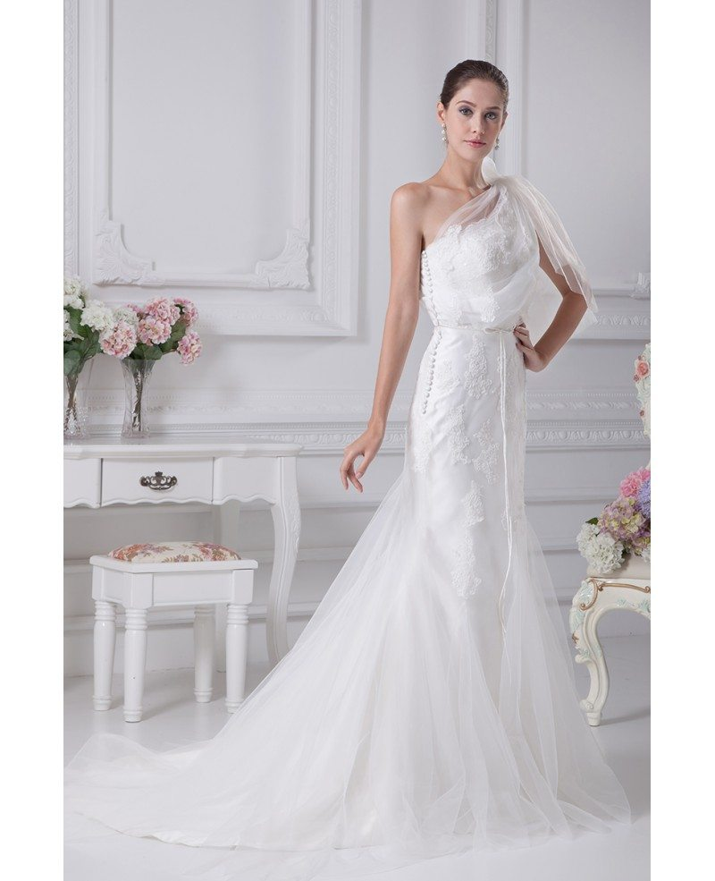 Unique Lace with Tulle One Strap Mermaid Wedding Dress # ...