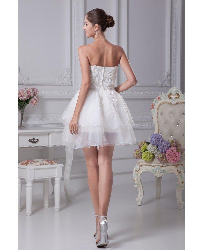 Strapless Tulle Short Wedding Dresses Tutu Lace Reception