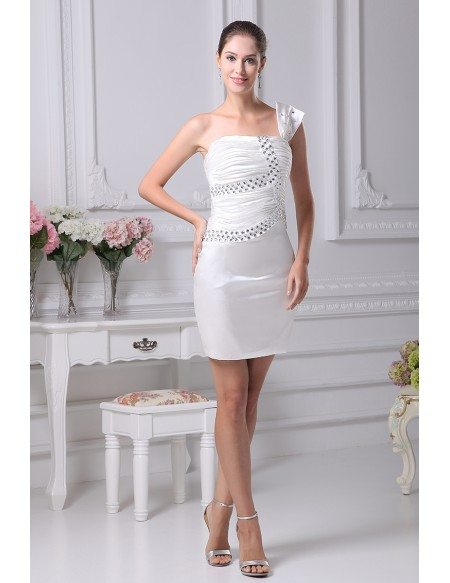 Little White Short Wedding Dresses Tight Mini Beaded One Strap Style ...