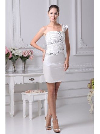 Mini Short Beaded One Strap Bridal Party Dress