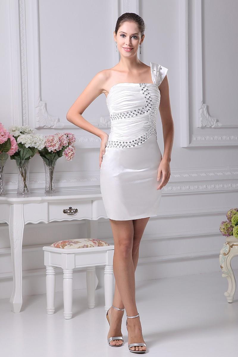 Little White Short Wedding Dresses Tight Mini Beaded One