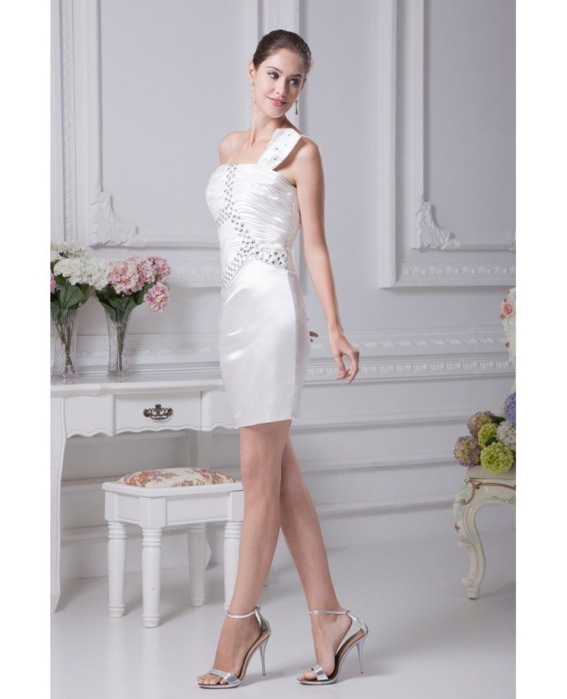 Little white short wedding dresses tight mini beaded one for Short beaded wedding dress