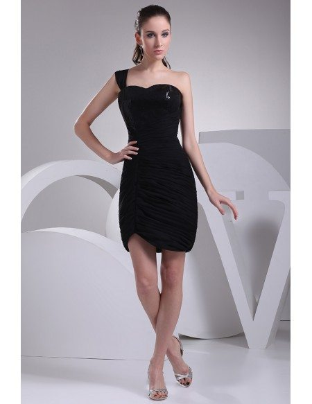 Little black one shoulder pleated bridesmaid dress op4177 for Little black wedding dress