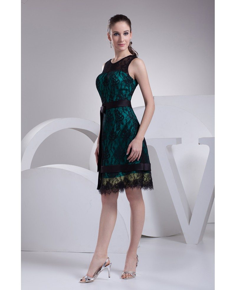 Black Lace High Neckline Short Dress Special Occasion