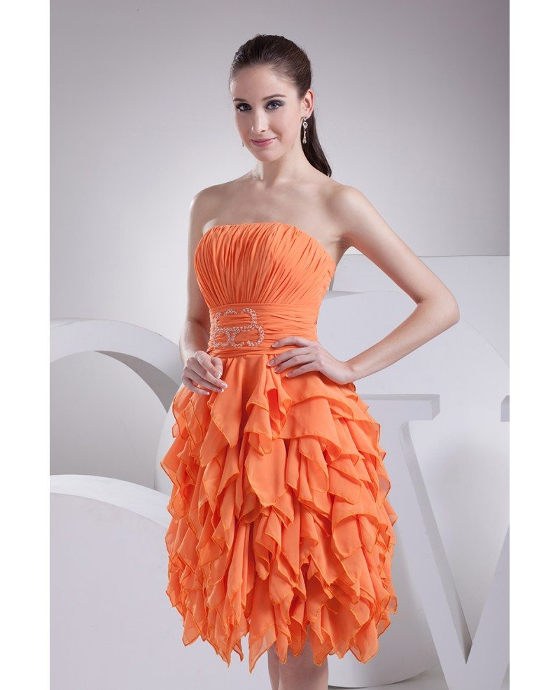 Coral Strapless Knee Length Party Dress Custom #OP4181