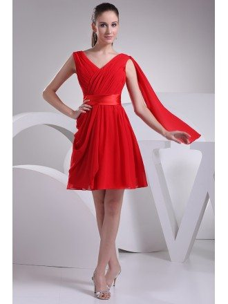 Red Pleated Chiffon Short Bridesmaid Dress with Sash